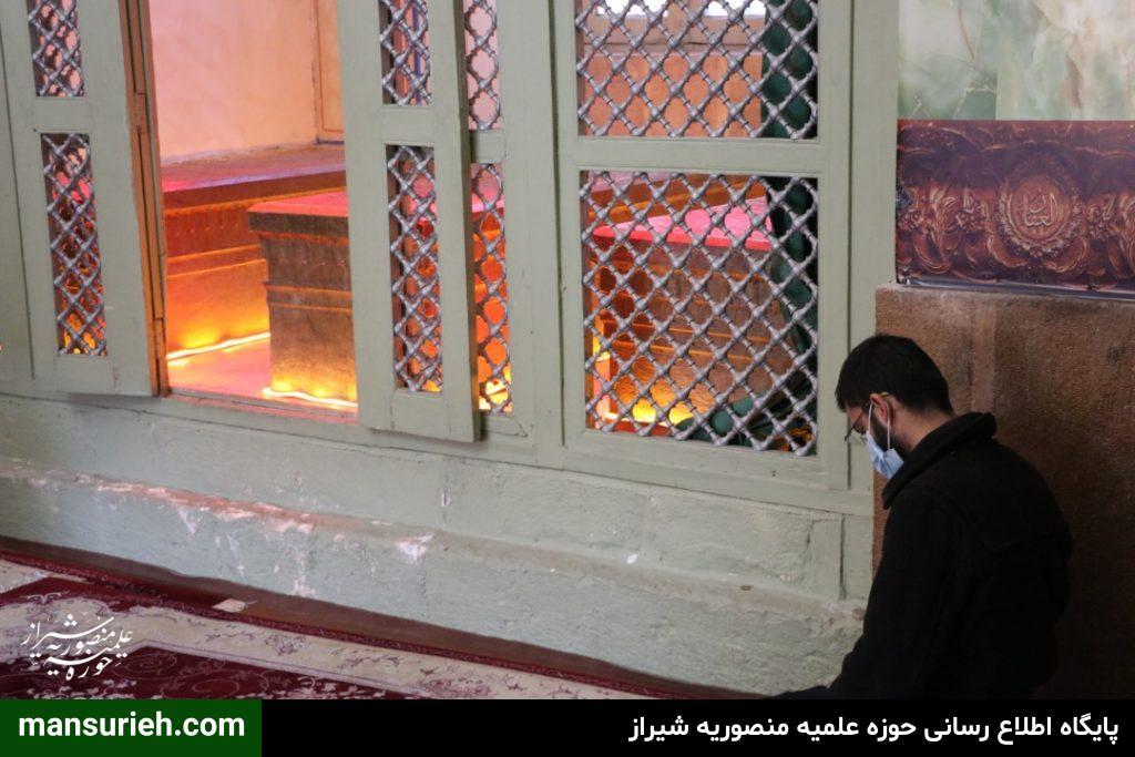 وداع با پیکر مطهر شهید گمنام در بقعه متبرکه حوزه علمیه منصوریه